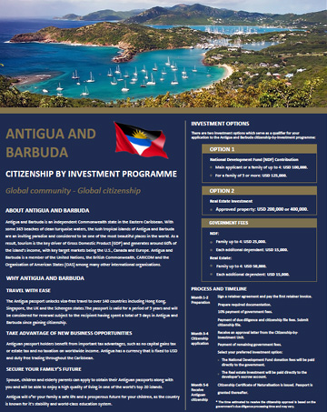 Antigua & Barbuda Citizenship by Investment Program Brochure - Cost, Benefits & Requirements
