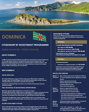 DOMINICA Citizenship by Investment Program Brochure - Cost, Benefits & Requirements