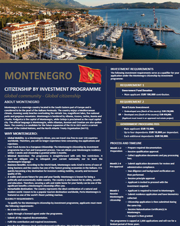 Overview of Montenegro Citizenship by Investment Program - Cost, Benefits & Requirements