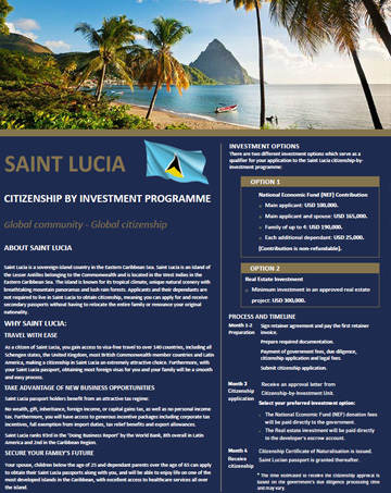 St. Lucia Citizenship by Investment Program Brochure - Cost, Benefits & Requirements