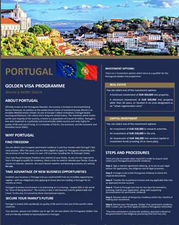 Portugal Golden Visa Residency Program