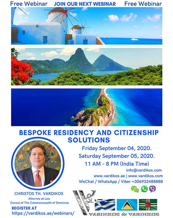 Webinar about Custom Residency & Citizenship Options - Vardikos & Vardikos