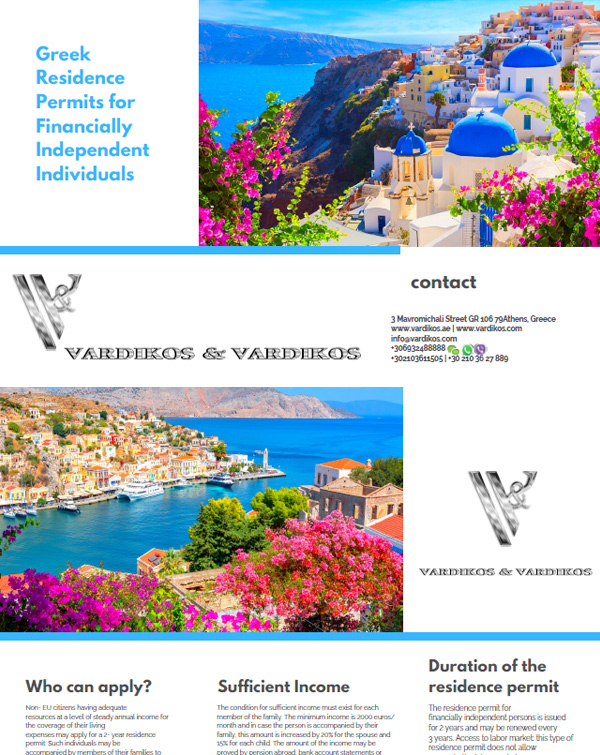 Greece Residence Permit Visa for FinanciallyIndependent Person (FIP)